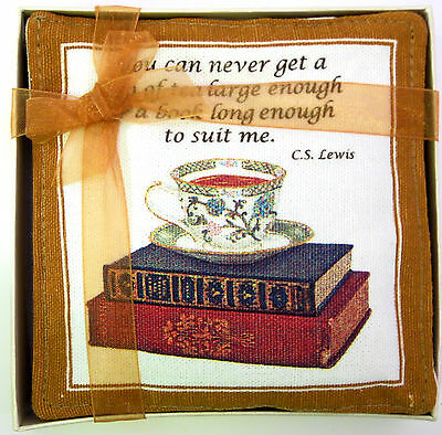 Set/4 Alice's Cottage Cotton Scented Spiced Mug Mats Coasters Books & Tea - NEW