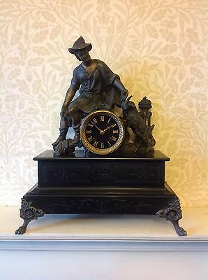 French Antique Black Marble & Spelter Goat Plus Goatherd Mantle Clock Circa 1890