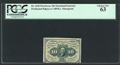 1862-63 10 Cent Fractional Currency Fr1240 Certified Pcgs Choice Uncirculated 63