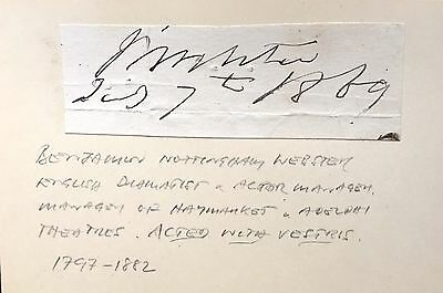 Benjamin Nottingham Webster.1797-1882 .actor & Dramatist Autograph (Adelphi T)