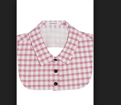 $199 CARVEN collar dickie gingham cotton silk blend pink check size 40