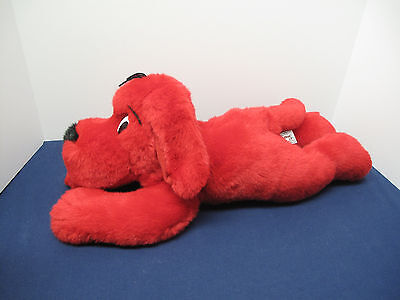 "Large Clifford the Big Red Dog laying down plush stuffed animal 21"" 1997"