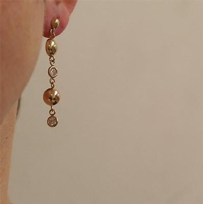 Dangling Drop Earrings with CZ 10k Solid Yellow Gold