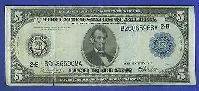 """$5 1914 BLUE SEAL """"NEW YORK"""" Federal Reserve Note"""
