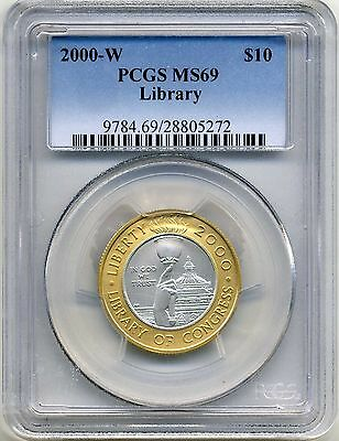 2000 W $10 Library Of Congress Bi Metal Pcgs Ms69 Gold/platinum