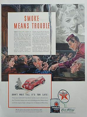 1941 ORIG. PRINT AD HAVOLINE MOTOR OIL usher catches man smoking at the movies