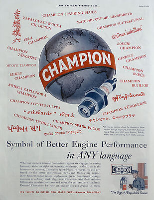 1939 ORIG.PRINT AD CHAMPION SPARK PLUGS better performance in any language