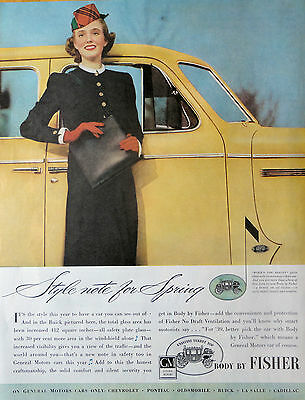 1939 Orig.print Ad On General Motor Cars Only Body By Fisher Illus.
