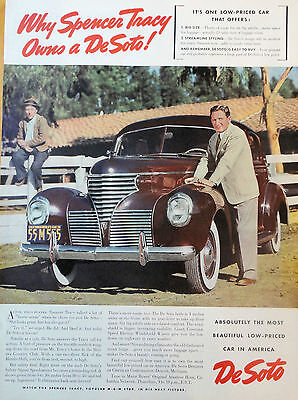 1939 ORIG. PRINT AD DE SOTO why Spencer Tracy owns a De Soto! Tracy w/ his car