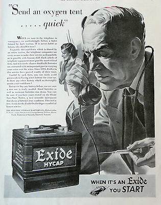 1939 Orig. Print Ad Exide Batteries, The Electric Storage Battery Co. Illus.