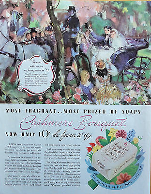 1934 ORIG. PRINT AD CASHMERE BOUQUET TOILET SOAP bride & groom in carriage