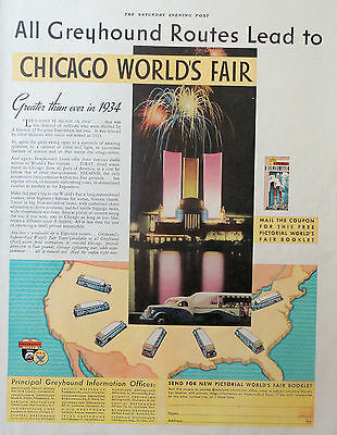 1934 ORIG. PRINT AD GREYHOUND all Greyhound routes lead to Chicago World's Fair