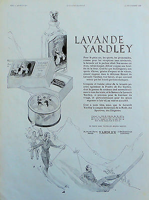 "1931 ORIG. PRINT AD YARDLEY ""LAVENDER"" French Magazine Ad women downhill skiing"
