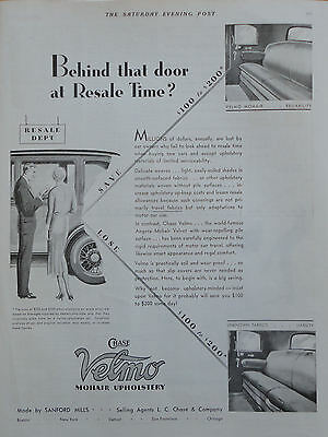 1931 ORIG. PRINT AD CHASE VELMO MOHAIR UPHOLSTERY behind the door at resale time