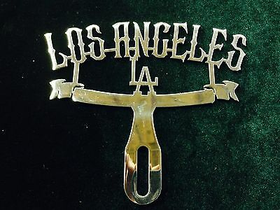 Los Angeles license plate topper LA CALIFAS BOMBS HARLEY DAVIDSON CALIFORNIA