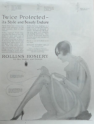 1926 ORIG.PRINT AD ROLLINS HOSIERY twice protected lady seated artist signed