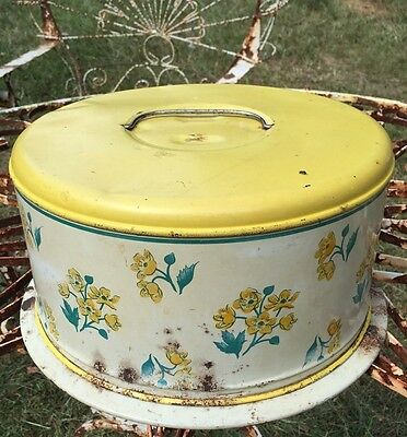 Vintage Old Metal Cake Taker Carrier Yellow with Flowers Rusty Needs TLC