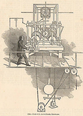 Genuine 1845 Print Clock Making Horology Time Tower Mechanical Chime Cog Watch