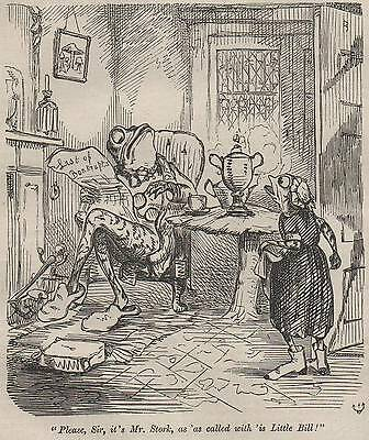 Genuine 1857 Print Victorian Frog Toad Fireplace House Maid Girl Newspaper