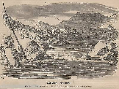 Genuine 1863 Print Fly Fishing Angling Fish Rod Tackle River Basket Trout Salmon