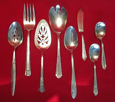 Lot of 8 Misc Antique & Vtg mixed Mfgs of Silver Plated Service Utensils
