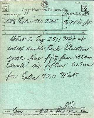 Great Northern RY GNRY Train Order & Clearance Card 1946