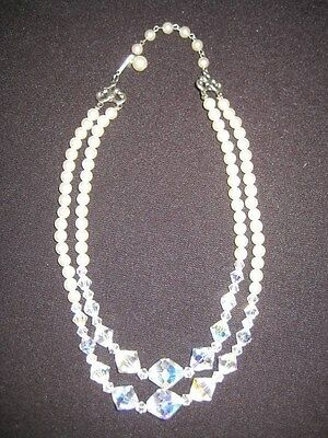 Vintage appeal NECKLACE Faux Pearl Crystal Necklace Wedding Bridal