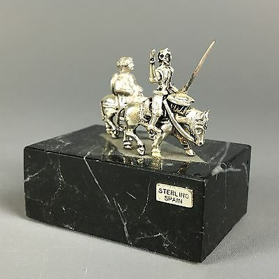 Vintage Sterling Miniature Don Quixote Spain Sculpture On Stone Base