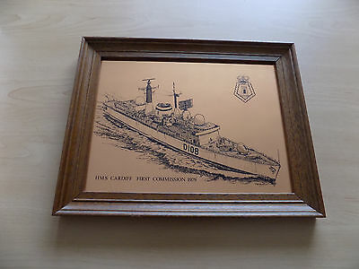 HMS Cardiff - Type 42 Destroyer - Copper Etched Framed Picture (1979)
