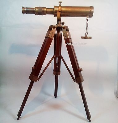 Nautical Collectible Decor Brass Antique Telescope with Wooden Tripod Stand