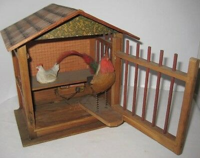 Old German Wooden Chicken Coop + Felt Rooster 2 Bird Pipsqueek - Christmas Putz