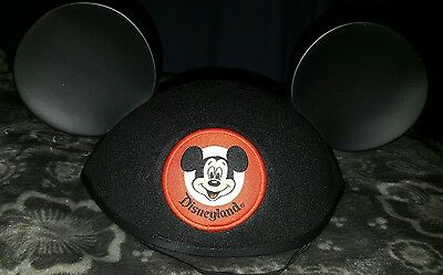 Walt Disney Land Adult Size Mickey Ears Hat Black Red Fabric Patch BLANK