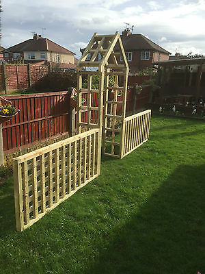 wooden garden arch with side fencing for delivery see description