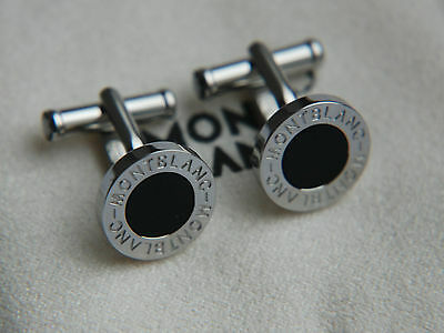 Montblanc Iconic Black Onyx and Stainless Steel Cufflinks