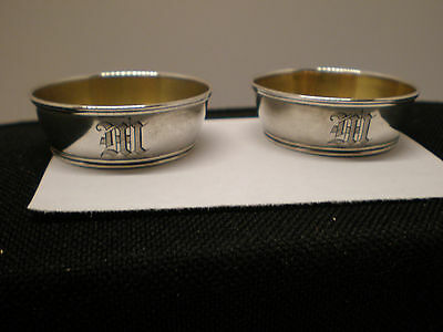 Vintage Small Open Salt Dishes Sterling Silver Pair Gorham 1900