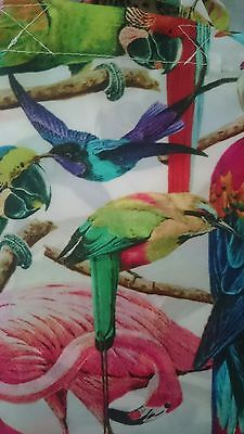 Multicoloured Vibrant Tropical Birds Parrots Green Red SHOWER CURTAIN 180cm NEW