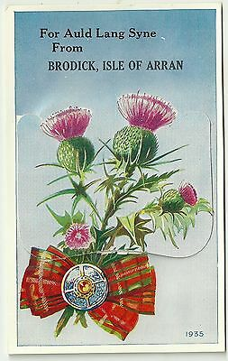 Novelty Pullout postcard Auld Lang Syne Brodick Isle of Arran