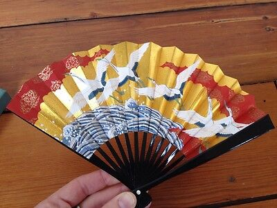 "Japanese Paper Fan Red Gold Cranes Waves Ocean w/ Box Small 9"" Wide"