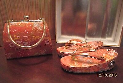 Cute Vtg Girls Purse and Zori Set Silk Japanese NoRes 1A6