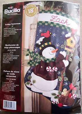 Bucilla FOLKSY SNOWMAN Felt Applique Embroidery Christmas Stocking Kit 85267