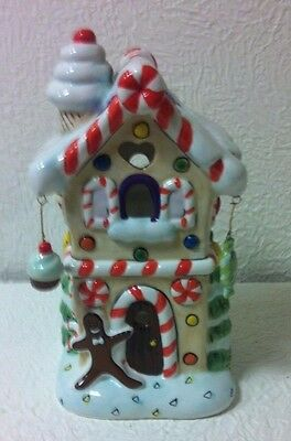 Christmas Candy Shop Handpainted Ceramic Tealite House Includes 6 Candles New