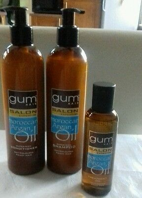 Gum Hair Salon Expertise Shampoo, Conditioner & Treatment Oil, 3 Pack Frizzy Dry