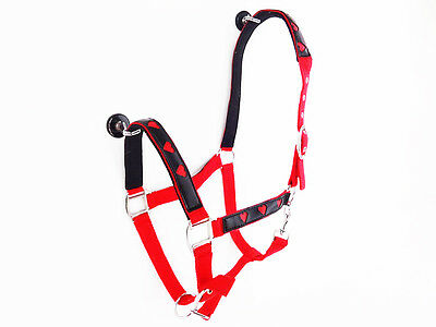 Red Heart Nylon Halter Nose Band Full Western Equine Horse Cowgirl Barrel Trail