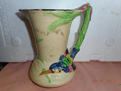 Antique  Majolica color BIRD HANDLE  PITCHER 6 3/4 very old