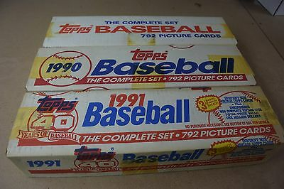 Topps Baseball Complete Factory Set Lot of 3 Sets w/ 1988, 1990, 1991