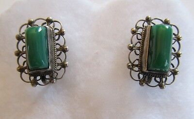 VINTAGE MEXICAN MEXICO Sterling SILVER FILIGREE GREEN STONE EARRINGS