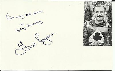 1929-2001 FRED ROGERS (Belle Vue Aces), white postcard, ORIGINALLY SIGNED!