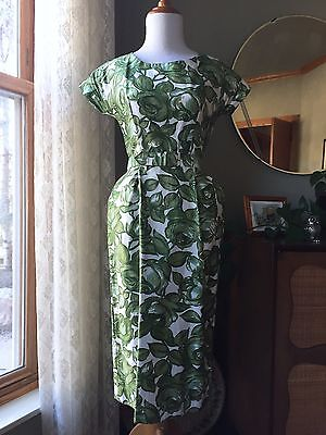 50s Dress Green Roses Novelty Print Wiggle 1950s 60s Flowers Floral Vintage