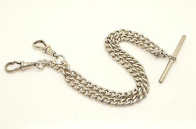 Vintage 1920 Sterling Silver Double Albert Watch Chain T-bar, 26.5g