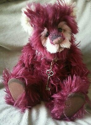 CHARLIE BEARS PLUMDUFF   limited edition mohair bear with bag and tag